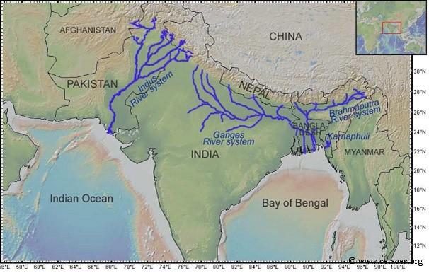 Cartes des fleuves Indus et Gange